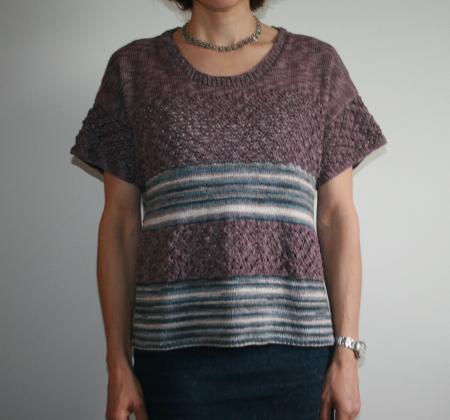 pull coton manches courtes au tricot