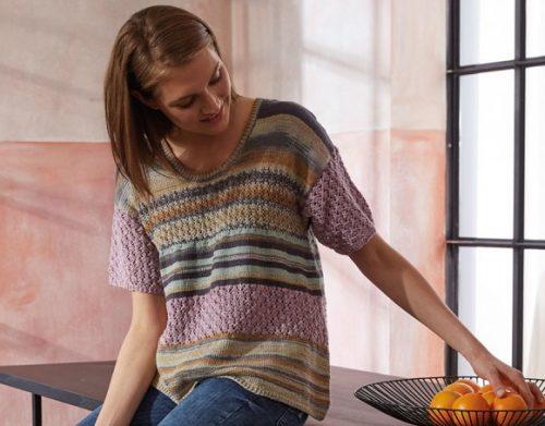 modèle pull manches courtes au tricot