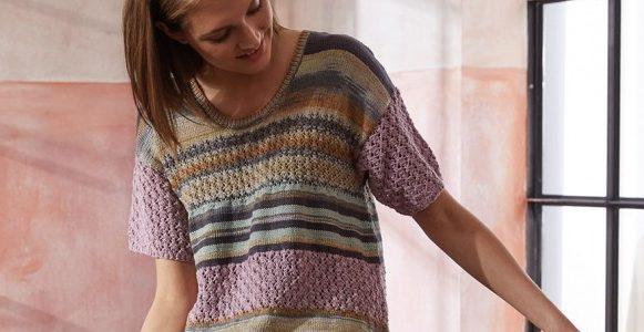 modèle tricot femme – pull à manches courtes
