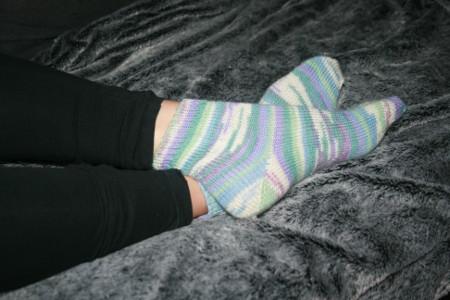 chaussettes au tricot terminées