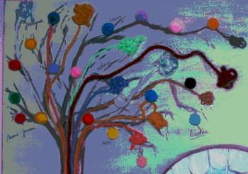 peinture arbre aux pelotes