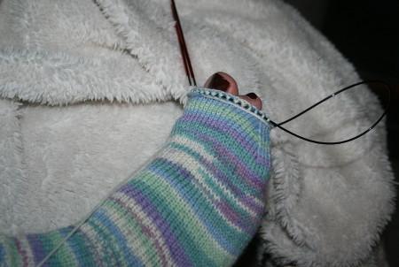 essayage de la chaussette en cours