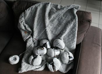 couverture au tricot - en cours
