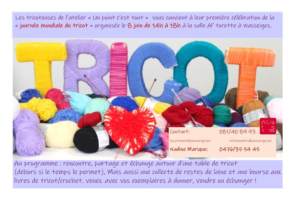 affiche PCS journée mondiale du tricot